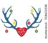 deer antlers  christmas design  ... | Shutterstock .eps vector #518621038