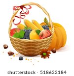 fruits and vegetables in wicker ... | Shutterstock .eps vector #518622184