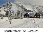 crater lake lodge in winter.... | Shutterstock . vector #518626324