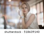 thoughtful concept. woman... | Shutterstock . vector #518639140