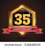 35 years anniversary hexagonal... | Shutterstock .eps vector #518648524