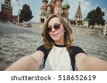 pretty young woman tourist... | Shutterstock . vector #518652619