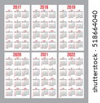 vector set of calendar grids... | Shutterstock .eps vector #518664040