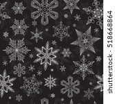 christmas snow pattern.... | Shutterstock .eps vector #518668864