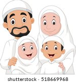 muslim family cartoon | Shutterstock . vector #518669968