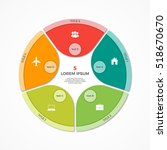 vector pie chart circle... | Shutterstock .eps vector #518670670