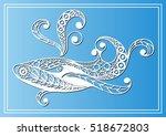 decorative zodiac sign cetus ... | Shutterstock . vector #518672803