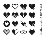 love heart icons. set of... | Shutterstock . vector #518674564