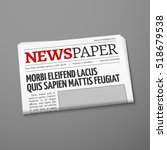 realistic daily newspaper front ... | Shutterstock . vector #518679538