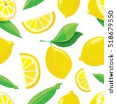 lemon slices citrus seamless... | Shutterstock . vector #518679550