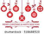 red christmas balls set symbols ... | Shutterstock .eps vector #518688523