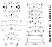 set of hand drawn vignettes in... | Shutterstock .eps vector #518689624