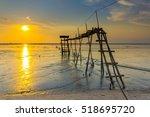 sunset on the beach jeram ... | Shutterstock . vector #518695720