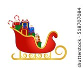 santa's sleigh full of gifts ... | Shutterstock .eps vector #518707084