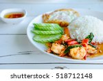 fried rice with basil shrimp... | Shutterstock . vector #518712148