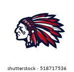 indian head mascot. logo or... | Shutterstock .eps vector #518717536
