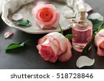 bottle of aroma oil with roses... | Shutterstock . vector #518728846