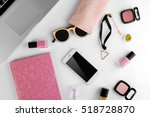 workplace with laptop and women ... | Shutterstock . vector #518728870