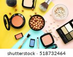 set of decorative cosmetics on... | Shutterstock . vector #518732464