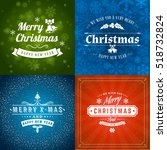 set of merry christmas and... | Shutterstock .eps vector #518732824
