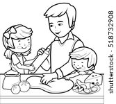 father and children cooking... | Shutterstock .eps vector #518732908