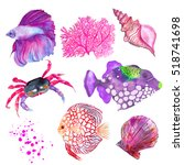 watercolor colorful set fish... | Shutterstock . vector #518741698