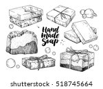 handmade natural soap set.... | Shutterstock .eps vector #518745664