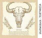 hand drawn buffalo skull and... | Shutterstock .eps vector #518748214