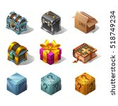 set of icons cartoon isometric... | Shutterstock .eps vector #518749234