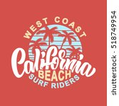 california beach surf riders... | Shutterstock .eps vector #518749954