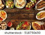 border of mediterranean dishes... | Shutterstock . vector #518750650