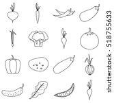 vegetables icons set. outline...   Shutterstock . vector #518755633