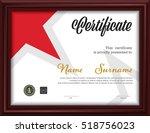 horizontal certificate template ... | Shutterstock .eps vector #518756023