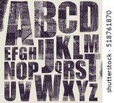 grunge scratch type font  hand... | Shutterstock .eps vector #518761870