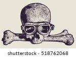 Skull In Motorcycle Retro...