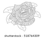rose coloring book for adults... | Shutterstock . vector #518764309