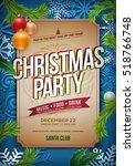 vector christmas party poster... | Shutterstock .eps vector #518766748