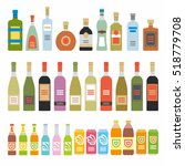 flat icons alcoholic beverages | Shutterstock .eps vector #518779708