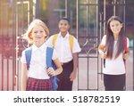 teenager girl and her friends... | Shutterstock . vector #518782519