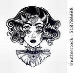 devil girl head portrait with... | Shutterstock .eps vector #518786668
