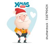 jolly santa claus. vector... | Shutterstock .eps vector #518790424