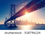 Stock photo san francisco skyline retro view america spirit california theme usa background 518796124