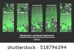 Abstract rhombs on green gradient background. Vertical banners.