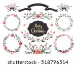 christmas wreath and floral... | Shutterstock .eps vector #518796514