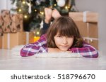 little girl in christmas... | Shutterstock . vector #518796670