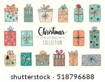 christmas collection of sixteen ... | Shutterstock .eps vector #518796688
