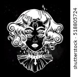 devil girl head portrait with... | Shutterstock .eps vector #518805724