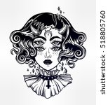 devil girl head portrait with... | Shutterstock .eps vector #518805760