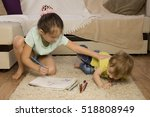 the conflict between a boy and... | Shutterstock . vector #518808949