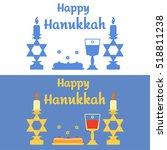happy hanukkah banner. candles... | Shutterstock .eps vector #518811238